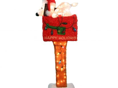 36-Inch Peanuts Pre-Lit Snoopy on The Mailbox Animated Christmas Yard Art