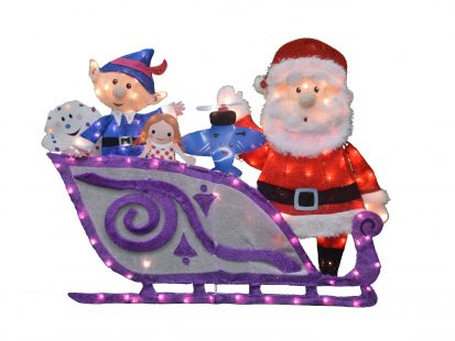42-Inch Rudolph Santa and Sleigh with Misfit Toys 2D Pre-Lit Yard Art