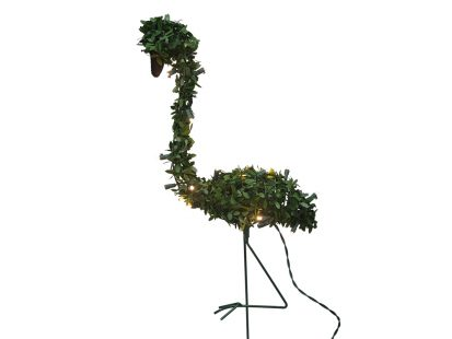 28″ Pre-lit Faux Boxwood Topiary Flamingo
