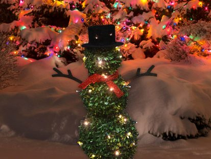 28″ Pre-lit Faux Boxwood Topiary Snowman with Scarf