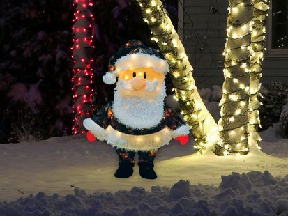 24″ 3D Pre-lit Candy Cane Lane Yard Art Santa in Camo Suit