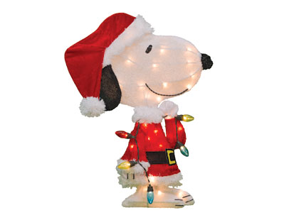 24″ Pre-Lit Peanuts Snoopy with Strand of Lights Christmas Yard Decoration, 35 Lights