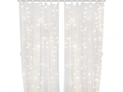 Warm White 300 LED Lights with 2 Sheer Curtain Panels