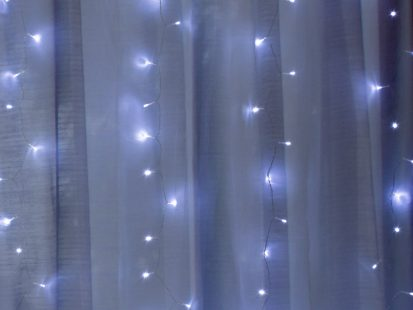 Cool White 300 LED Lights with 2 Sheer Curtain Panels