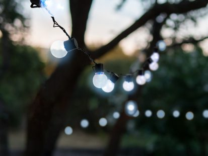 LED String Lights, 50 Clear Globe Caps with Cool White Lights